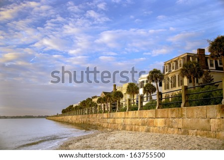 Charleston, South Carolina Battery at sunrise. Voted one of the best cities in the world for 2014 - stock photo