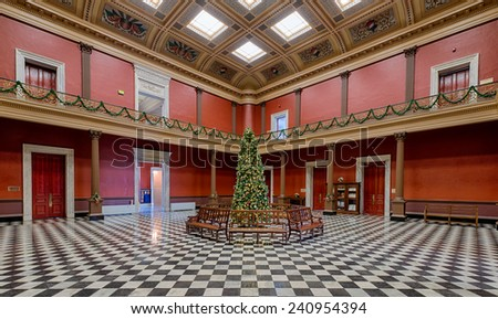 CHARLESTON, SOUTH CAROLINA - DECEMBER 8: Christmas tree in the United States Custom House on December 8, 2014 in Charleston, South Carolina