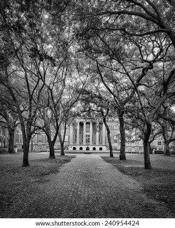 CHARLESTON, SOUTH CAROLINA - DECEMBER 8: Randolph Hall on the campus of the College of Charleston on December 8, 2014 in Charleston, South Carolina - stock photo