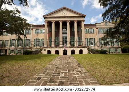 CHARLESTON, SOUTH CAROLINA - SEPTEMBER 11, 2015:  The College of Charleston, founded in 1770,  is located in the historic district of Charleston, South Carolina. - stock photo