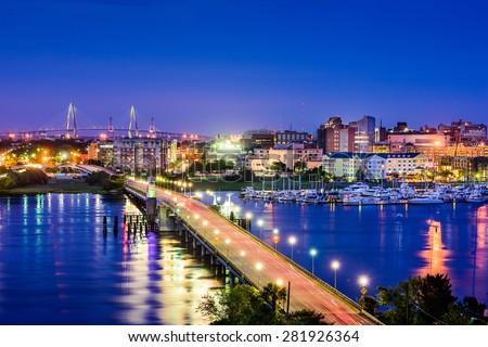 Charleston, South Carolina, USA skyline over the Ashley River. - stock photo