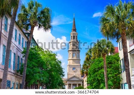 Charleston, South Carolina, USA view of the French Quarter. - stock photo