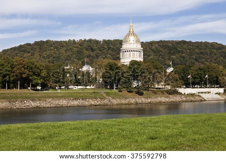 Charleston, West Virginia - State Capitol Building seen accross the river. - stock photo
