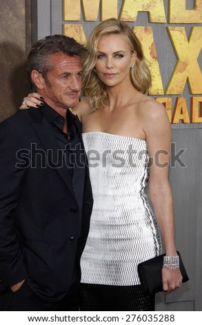 Charlize Theron and Sean Penn at the Los Angeles premiere of 'Mad Max: Fury Road' held at the TCL Chinese Theatre IMAX in Hollywood, USA on May 7, 2015.  - stock photo