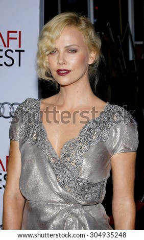 "Charlize Theron at the AFI FEST 2009 Screening of ""The Road"" held at the Grauman's Chinese Theater in Hollywood, USA on November 4, 2009. - stock photo"