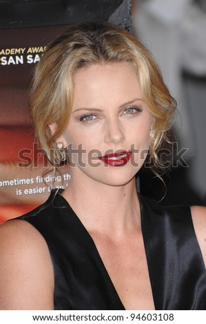 "Charlize Theron at the Los Angeles premiere of her new movie ""In the Valley of Elah"". September 14, 2007  Los Angeles, CA Picture: Paul Smith / Featureflash - stock photo"