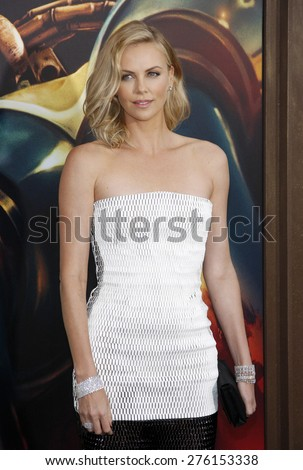 Charlize Theron at the Los Angeles premiere of 'Mad Max: Fury Road' held at the TCL Chinese Theatre IMAX in Hollywood, USA on May 7, 2015.  - stock photo