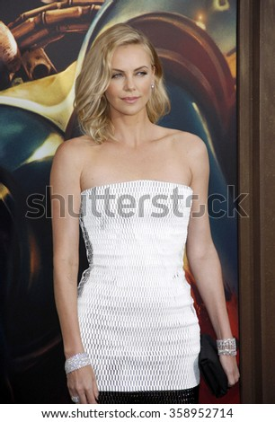"Charlize Theron at the Los Angeles premiere of ""Mad Max: Fury Road"" held at the TCL Chinese Theatre IMAX in Los Angeles, USA on May 7, 2015. - stock photo"