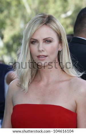 Charlize Theron at the 2012 MTV Movie Awards Arrivals, Gibson Amphitheater, Universal City, CA 06-03-12 - stock photo