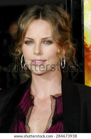 "Charlize Theron attends the Los Angeles Premiere of ""The Reaping"" held at the Mann Village Theater in Westwood, California on March 29, 2007.  - stock photo"