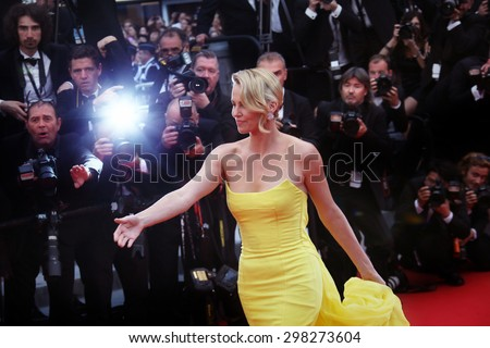 Charlize Theron attends the 'Mad Max : Fury Road' Premiere during the 68th annual Cannes Film Festival on May 14, 2015 in Cannes, France. - stock photo