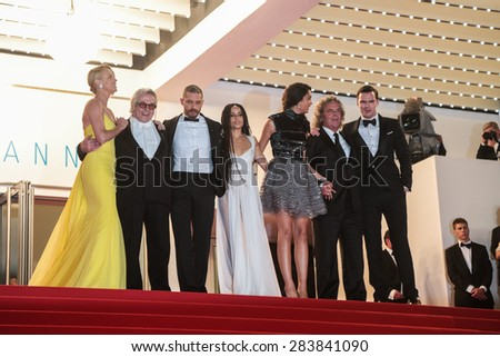 Charlize Theron, Tom Hardy and film team attend the 'Mad Max: Fury Road' premiere during the 68th annual Cannes Film Festival on May 14, 2015 in Cannes, France. - stock photo