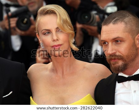 Charlize Theron, Tom Hardy attend the 'Mad Max : Fury Road' Premiere during the 68th annual Cannes Film Festival on May 14, 2015 in Cannes, France. - stock photo