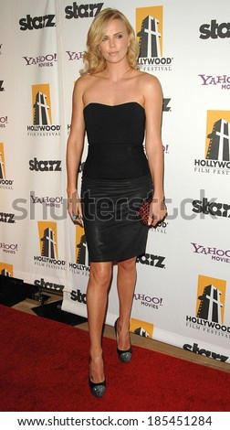 Charlize Theron, wearing a top and skirt by The Row, at The Hollywood Film Awards, Beverly Hilton Hotel, Beverly Hills, NY October 26, 2009 - stock photo