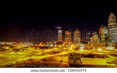 Charlotte City Skyline and architecture at night - stock photo
