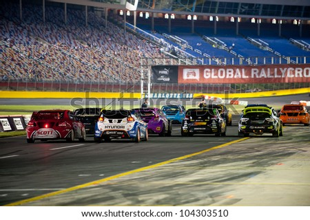 CHARLOTTE, NC - MAY 26: The Rallycars lined up at the GRC Global Ralleycross  in Charlotte, NC on May 26, 2012 - stock photo