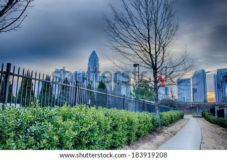 charlotte nc skyline early in the morning - stock photo