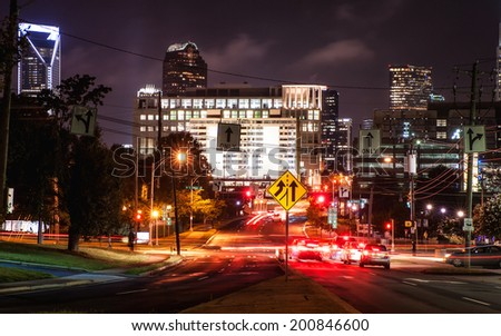 Charlotte, NC. United States. June 24, 2014. City lights in Uptown at night