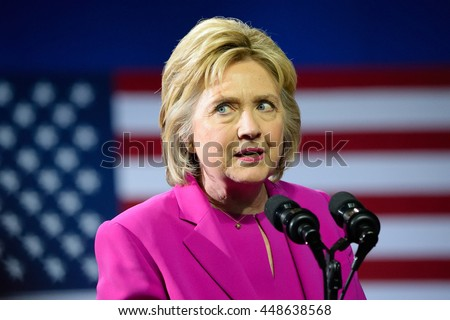 CHARLOTTE, NC, USA - JULY 5, 2016: Hillary Clinton speaks at a campaign rally at the Charlotte Convention Center in a joint appearance with the US President.  - stock photo