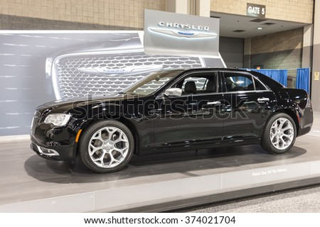 CHARLOTTE, NC, USA - November 11, 2015: Chrysler 300C sports sedan on display during the 2015 Charlotte International Auto Show at the Charlotte Convention Center in downtown Charlotte.
