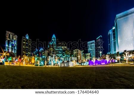 charlotte north carolina city skyline - stock photo