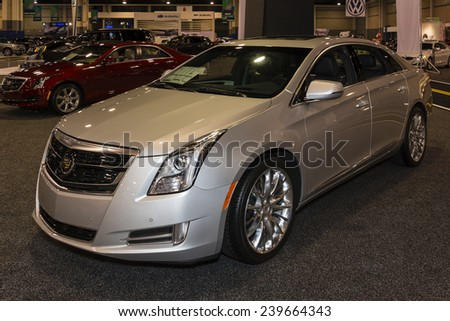 CHARLOTTE, NORTH CAROLINA - NOVEMBER 20, 2014: Cadillac XTS sedan on display during the 2014 Charlotte International Auto Show at the Charlotte Convention Center.