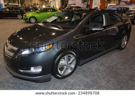 CHARLOTTE, NORTH CAROLINA - NOVEMBER 20, 2014: Chevrolet Volt on display during the 2014 Charlotte International Auto Show at the Charlotte Convention Center. - stock photo