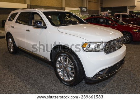 CHARLOTTE, NORTH CAROLINA - NOVEMBER 20, 2014: Dodge Durango SUV on display during the 2014 Charlotte International Auto Show at the Charlotte Convention Center.
