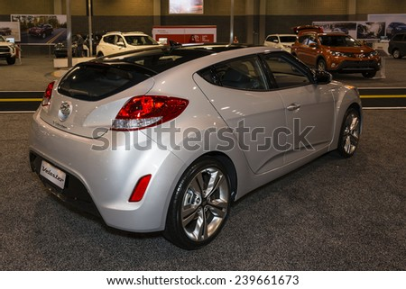 CHARLOTTE, NORTH CAROLINA - NOVEMBER 20, 2014: Hyundai Veloster on display during the 2014 Charlotte International Auto Show at the Charlotte Convention Center.