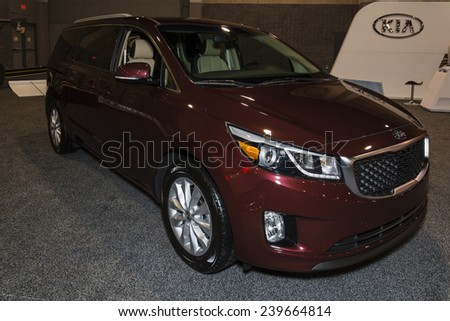CHARLOTTE, NORTH CAROLINA - NOVEMBER 20, 2014: Kia Sedona on display during the 2014 Charlotte International Auto Show at the Charlotte Convention Center.