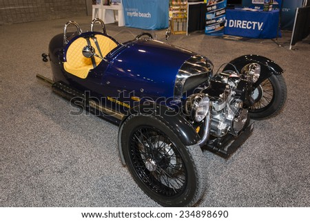 CHARLOTTE, NORTH CAROLINA - NOVEMBER 20, 2014: Morgan Three Wheeler on display during the 2014 Charlotte International Auto Show at the Charlotte Convention Center.