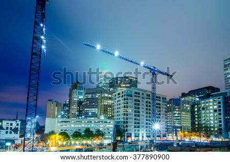 charlotte north carolina skyline - stock photo