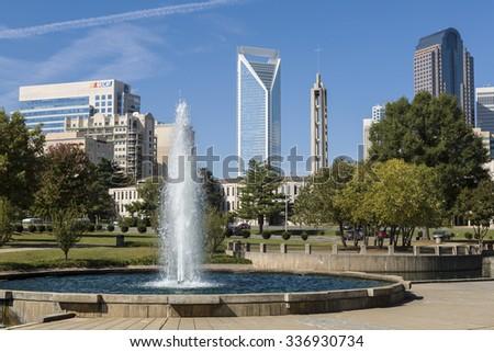 Charlotte north carolina usa october 18 2014 charlotte skyline