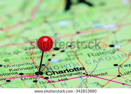 Charlotte pinned on a map of USA  - stock photo