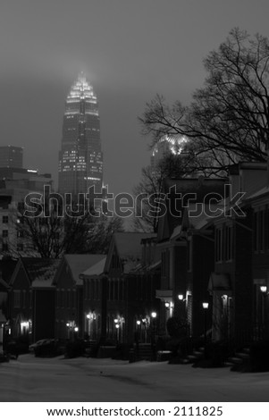 Charlotte skyline in snow - stock photo