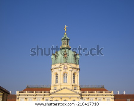 Charlottenburg Palace (German: Schloss Charlottenburg) in Charlottenburg district is the largest palace in Berlin, Germany. This palace was built at the end of the 17th century. - stock photo