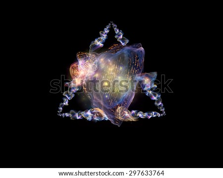 Charm of Poetry series. Creative arrangement of colorful organic forms with handwritten elements and lights as a concept metaphor on subject of jewelry, poetry, art, science and magic - stock photo