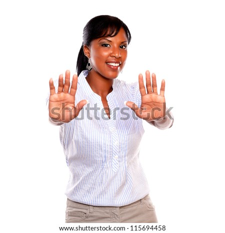 Charming adult woman giving the high looking at you on isolated background - stock photo