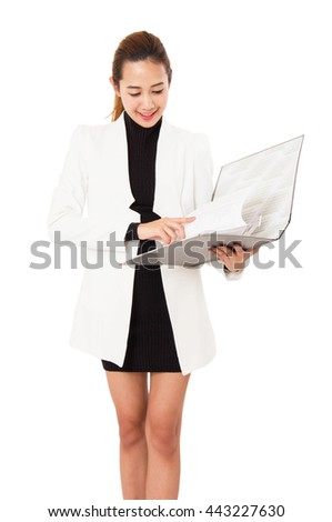 Charming  Asian Businesswoman Holding A Folder Smiling At Camera Against On White Background. - stock photo