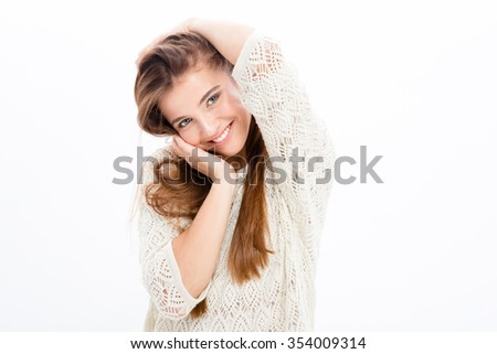 Charming attractive happy young woman in white clothes over white background - stock photo