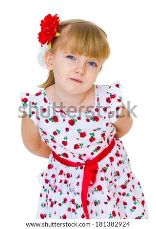 Charming blonde little girl look. Isolated on white background.