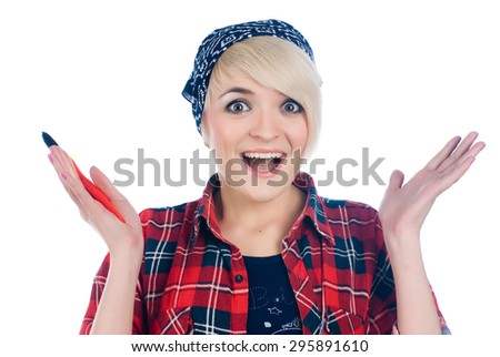 Charming blonde painter in a red shirt with surprised expression - stock photo