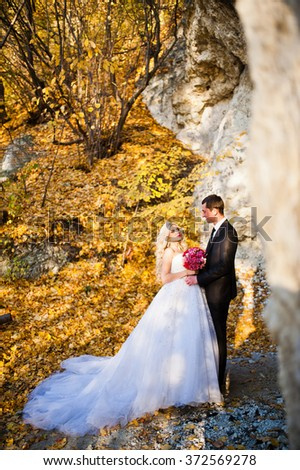 Charming bride and elegant groom on landscapes of mountains, near cave with yellow trees. Gorgeous wedding couple - stock photo