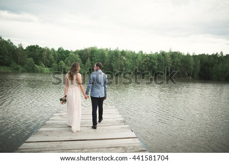 Charming bride, elegant groom on landscapes of mountains and sunset at lake. Gorgeous wedding couple