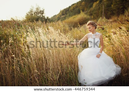 Charming bride in the steppe in the windy weather - stock photo
