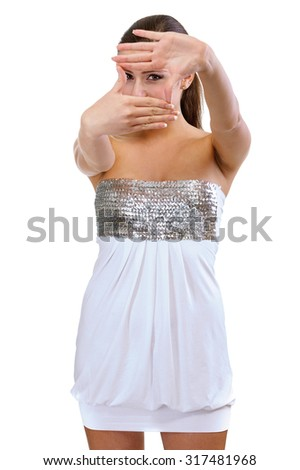 Charming brunette in evening dress, isolated on white background. - stock photo