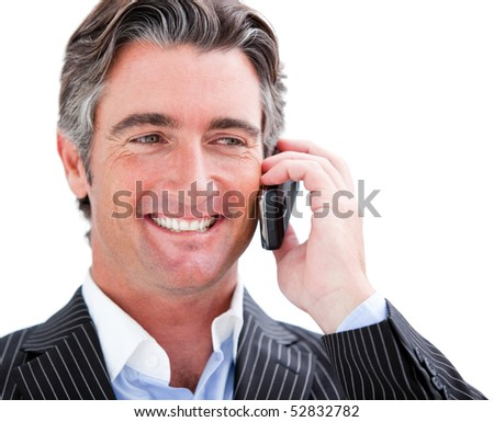 Charming businessman holding a phone on white background