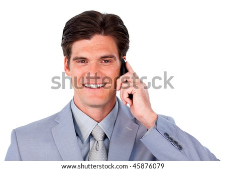 Charming businessman talking on phone isolated on a white background