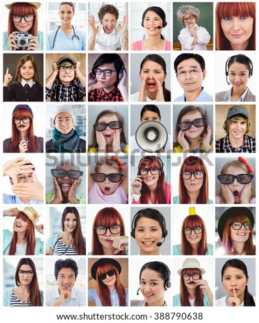Charming businesswoman asking for silence against happy smiling hipster with a mustache - stock photo
