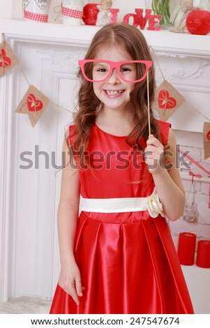 Charming cheerful little girl  - stock photo